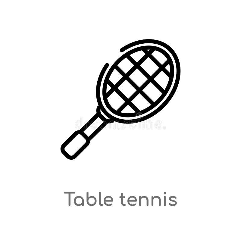 icono del vector de los tenis de mesa del esquema l?nea simple negra aislada ejemplo del elemento del concepto del tiempo libre M ilustración del vector