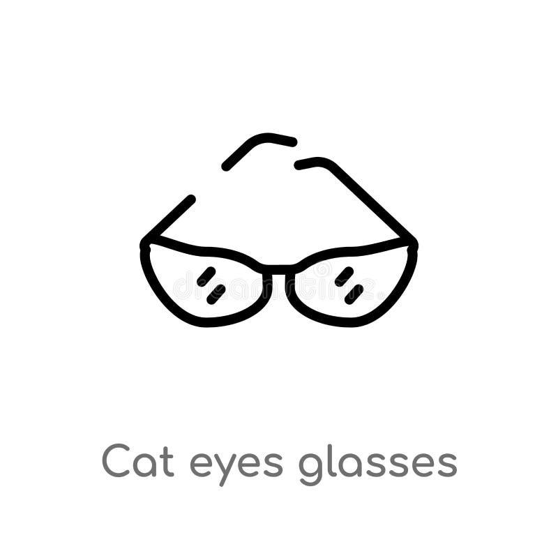 icono del vector de los vidrios de los ojos de gato del esquema línea simple negra aislada ejemplo del elemento del concepto de l libre illustration
