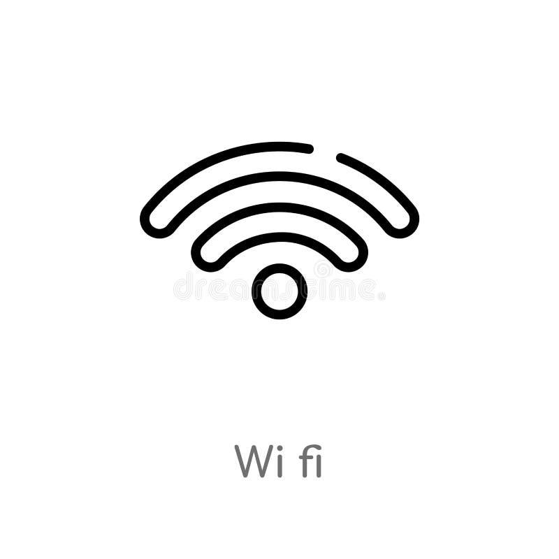 icono del vector de los wi fi del esquema línea simple negra aislada ejemplo del elemento del concepto del ordenador wi editable  libre illustration
