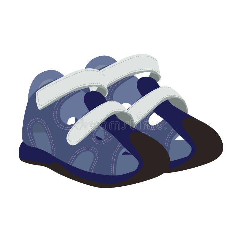 Icono del vector de los zapatos del deporte del bebé en un fondo blanco Zapatos de bebé en el ejemplo del corchete aislado en bla libre illustration