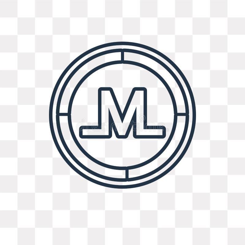 Icono del vector de Monero aislado en el fondo transparente, MES linear stock de ilustración