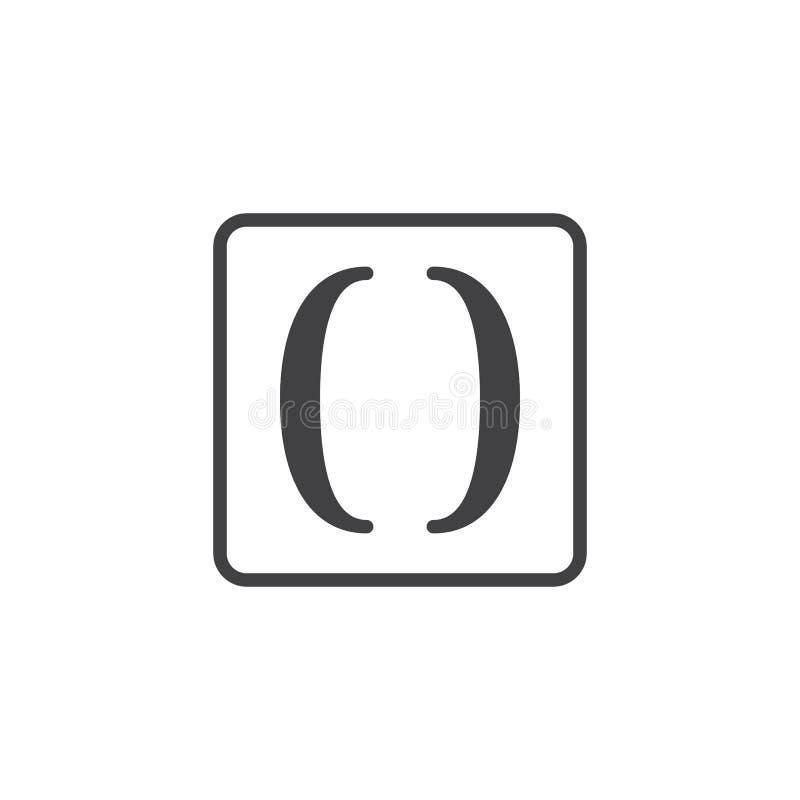 Icono del vector de paréntesis de las matemáticas stock de ilustración