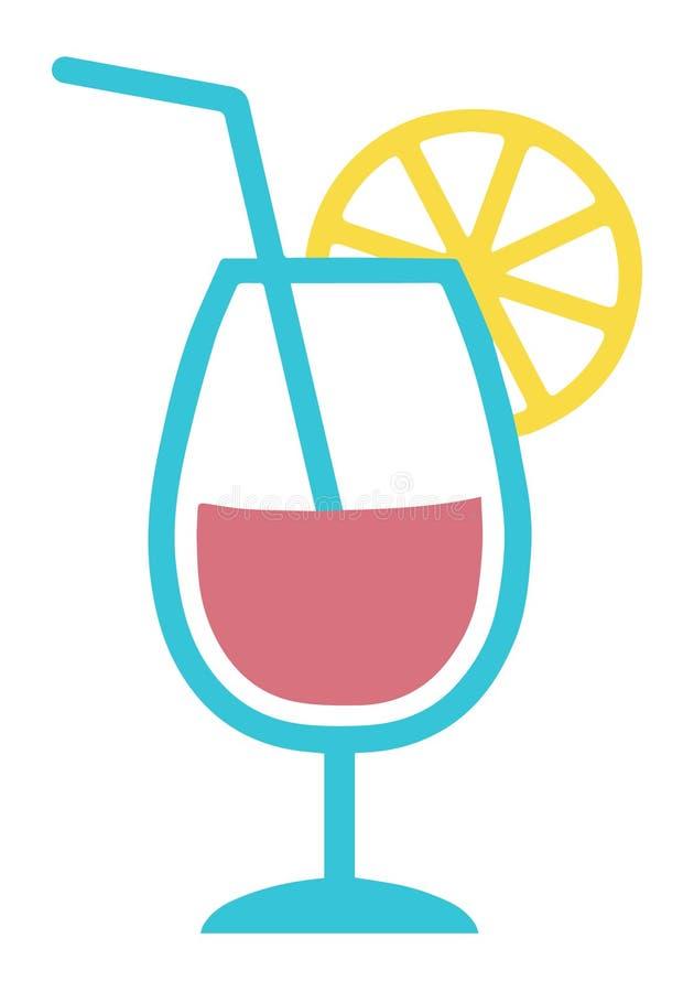 Icono del vector de una bebida del cóctel con la rebanada de la paja de beber y del limón libre illustration