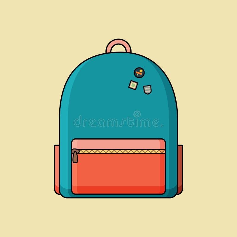 Icono del vector de una mochila azul ilustración del vector