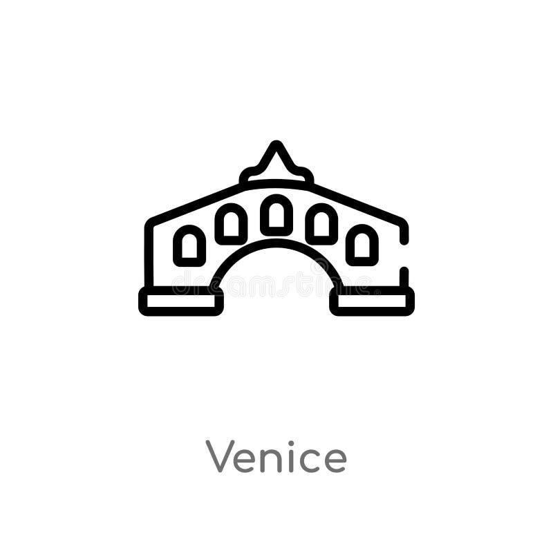 icono del vector de Venecia del esquema l?nea simple negra aislada ejemplo del elemento del concepto del viaje movimiento editabl ilustración del vector