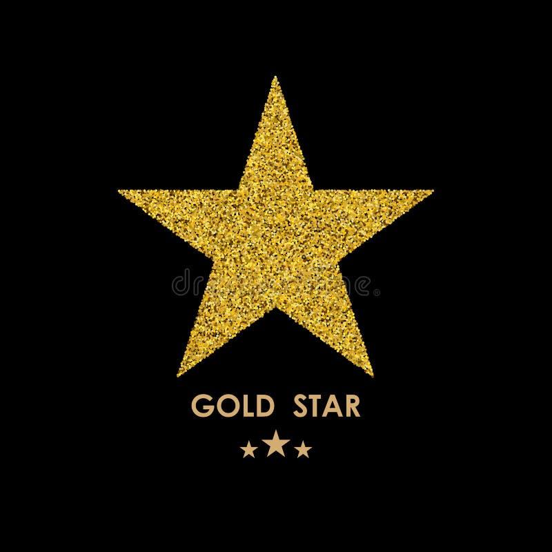Icono del vector del brillo del oro de la estrella aislado en fondo ilustración del vector