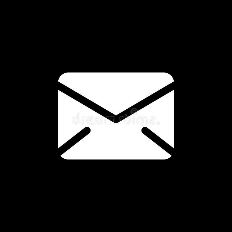 Icono Del Vector Del Correo Aislado En Fondo Negro Ilustración del Vector - Ilustración de fondo, correo: 92672113