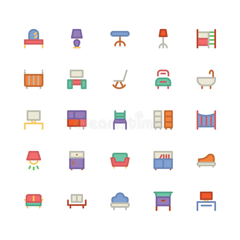 Icono 8 del vector del edificio y de los muebles stock de ilustración