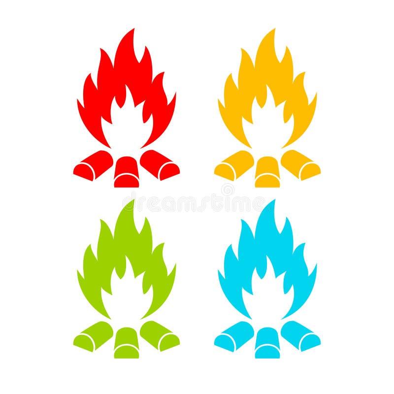 Icono del vector del fuego stock de ilustración