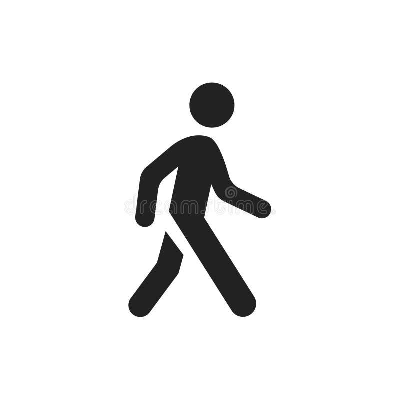Icono del vector del hombre que camina Ejemplo de la muestra del paseo de la gente ilustración del vector