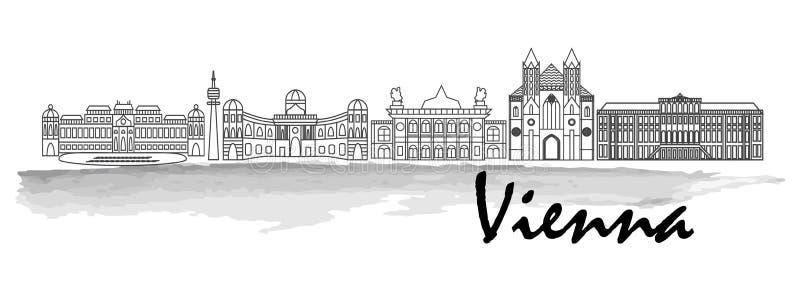 Icono del vector del horizonte de la ciudad de la silueta del negro de Viena ilustración del vector