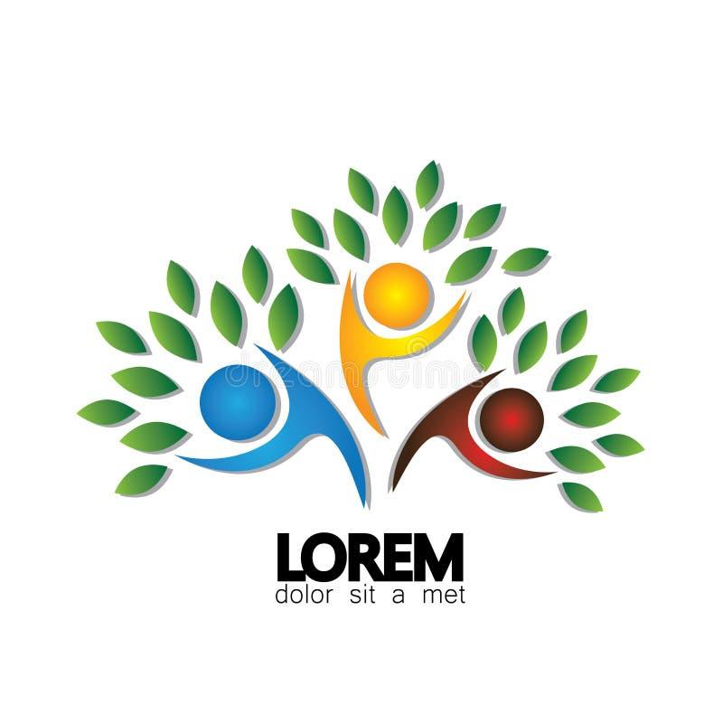 Icono del vector del logotipo de la persona del árbol que representa amistad ilustración del vector