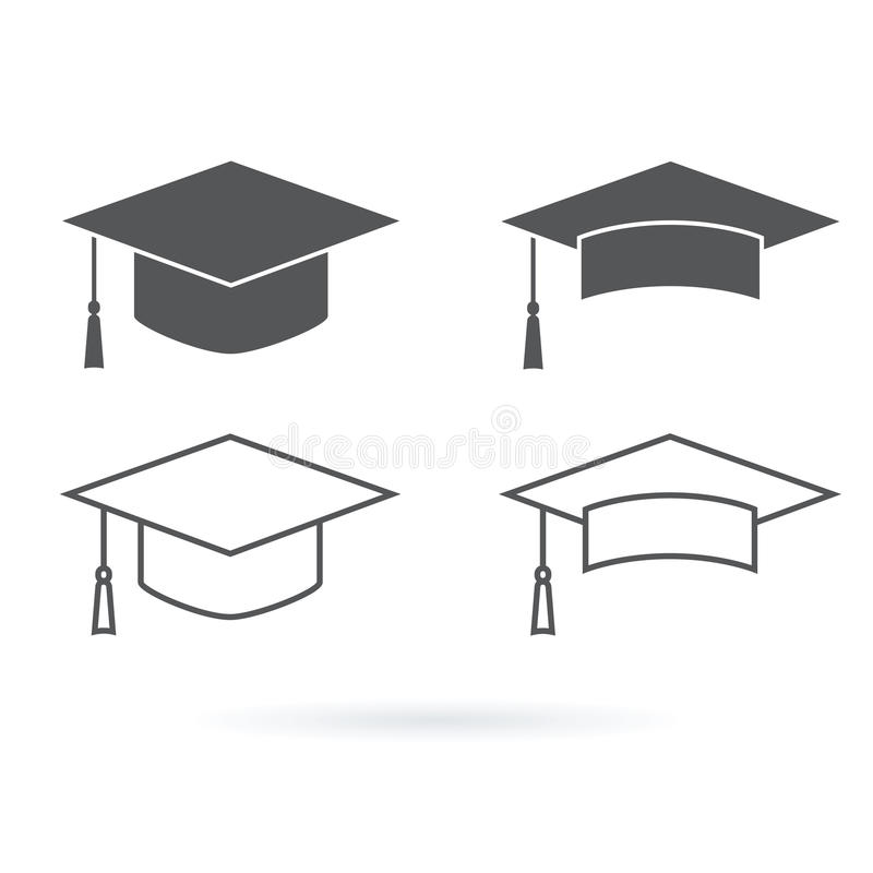 Icono del vector del sombrero de la graduación aislado en el fondo blanco libre illustration