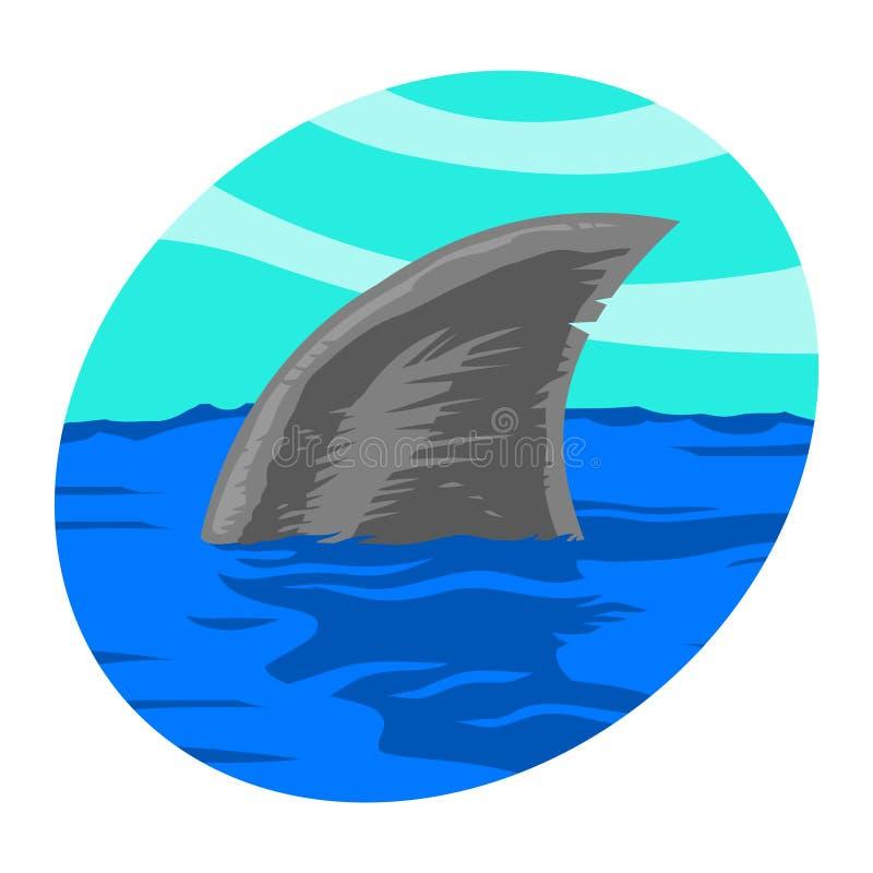 Icono del vector del tiburón stock de ilustración