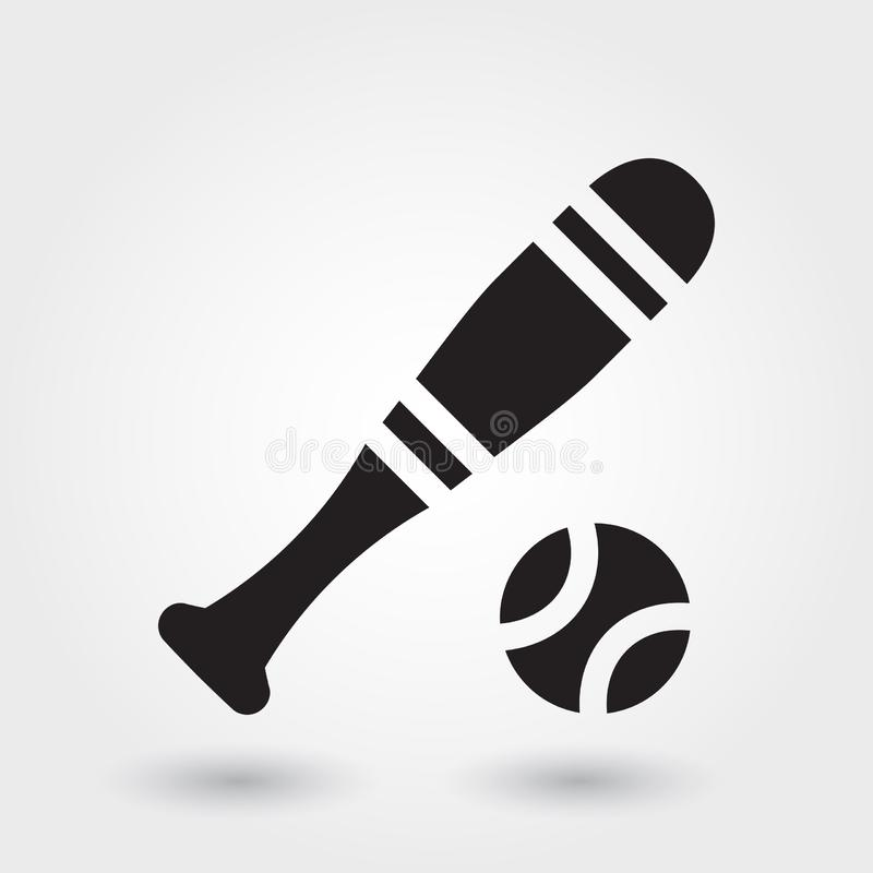 Icono del vector del deporte del béisbol, icono del palillo del béisbol, símbolo de los deportes Glyph moderno, simple stock de ilustración