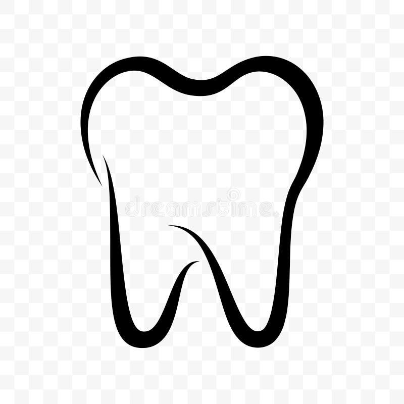 Icono del vector del diente Clínica de la odontología, crema dental y etiqueta dental del paquete del enjuague, diente sano ilustración del vector