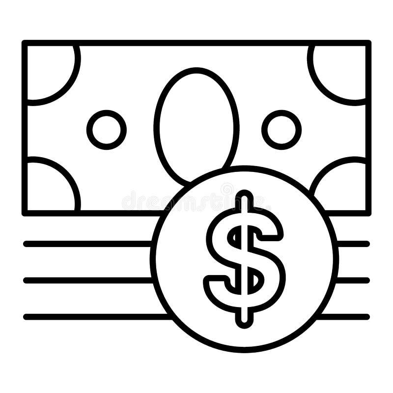 Icono del vector del dinero aislado en blanco Símbolo del efectivo del dólar Línea icono plano del esquema EPS 10 stock de ilustración
