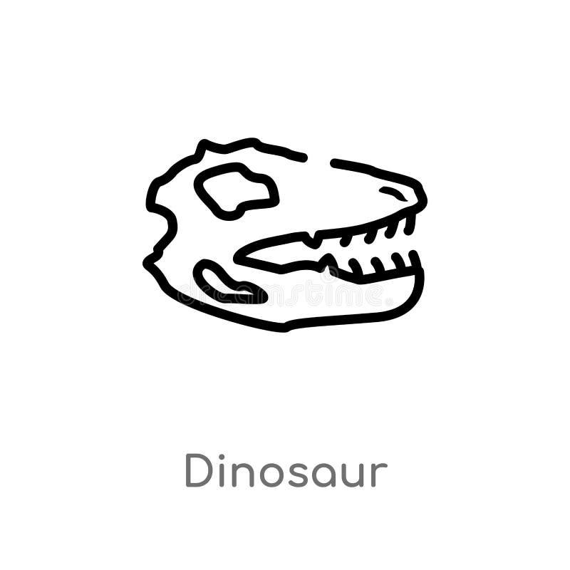 icono del vector del dinosaurio del esquema l?nea simple negra aislada ejemplo del elemento del concepto de la historia Movimient ilustración del vector