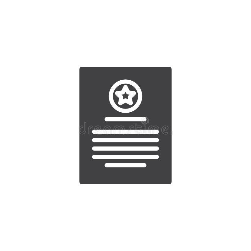 Icono del vector del diploma del certificado ilustración del vector