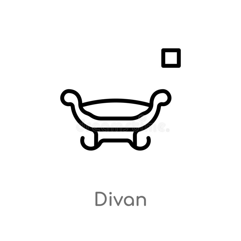 icono del vector del diván del esquema línea simple negra aislada ejemplo del elemento del concepto de los muebles diván editable stock de ilustración