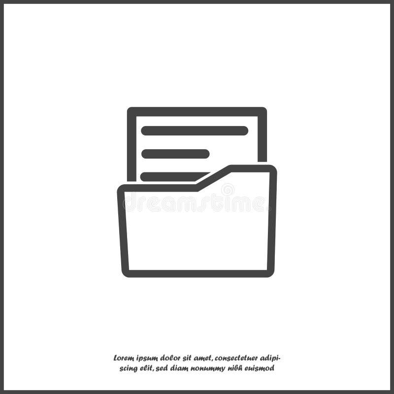 Icono del vector del documento del archivo Documento en la carpeta Informe de negocios en el fondo aislado blanco Capas agrupadas ilustración del vector
