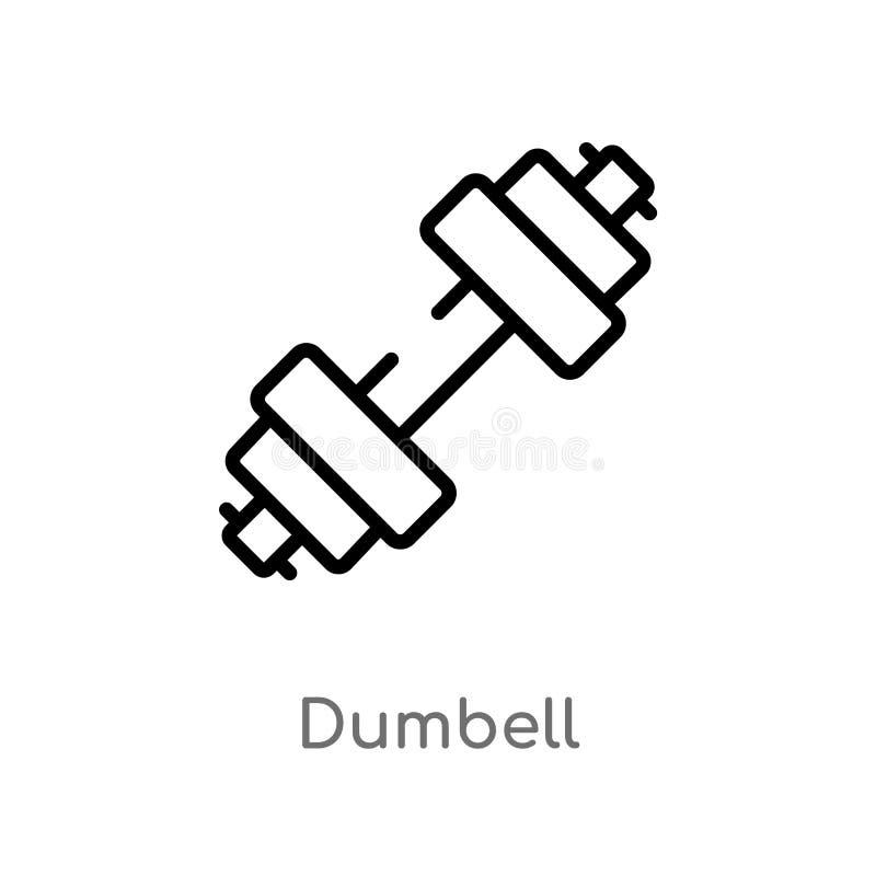 icono del vector del dumbell del esquema l?nea simple negra aislada ejemplo del elemento del concepto del tiempo libre Movimiento libre illustration