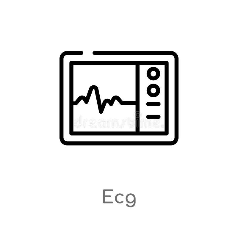 icono del vector del ecg del esquema l?nea simple negra aislada ejemplo del elemento del concepto m?dico icono editable del ecg d ilustración del vector