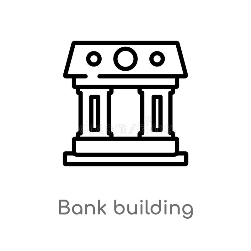 icono del vector del edificio de banco del esquema l?nea simple negra aislada ejemplo del elemento del concepto de los edificios  libre illustration
