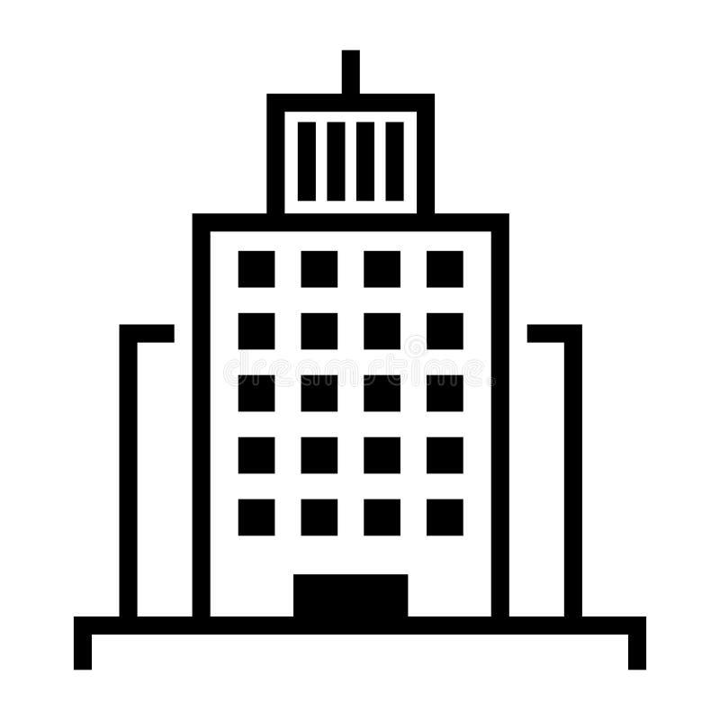 Icono del vector del edificio Paisaje urbano con los centros de negocios de los rascacielos y hoteles y casas urbanas modernos de ilustración del vector
