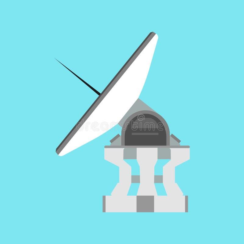 Icono del vector del ejemplo del espacio TV de la difusión de la antena de satélite Onda global de la información del negocio de  libre illustration