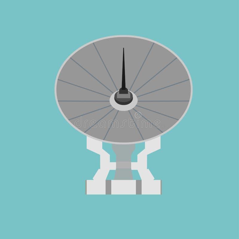 Icono del vector del ejemplo del espacio TV de la difusi?n de la antena de sat?lite Onda global de la informaci?n del negocio de  ilustración del vector