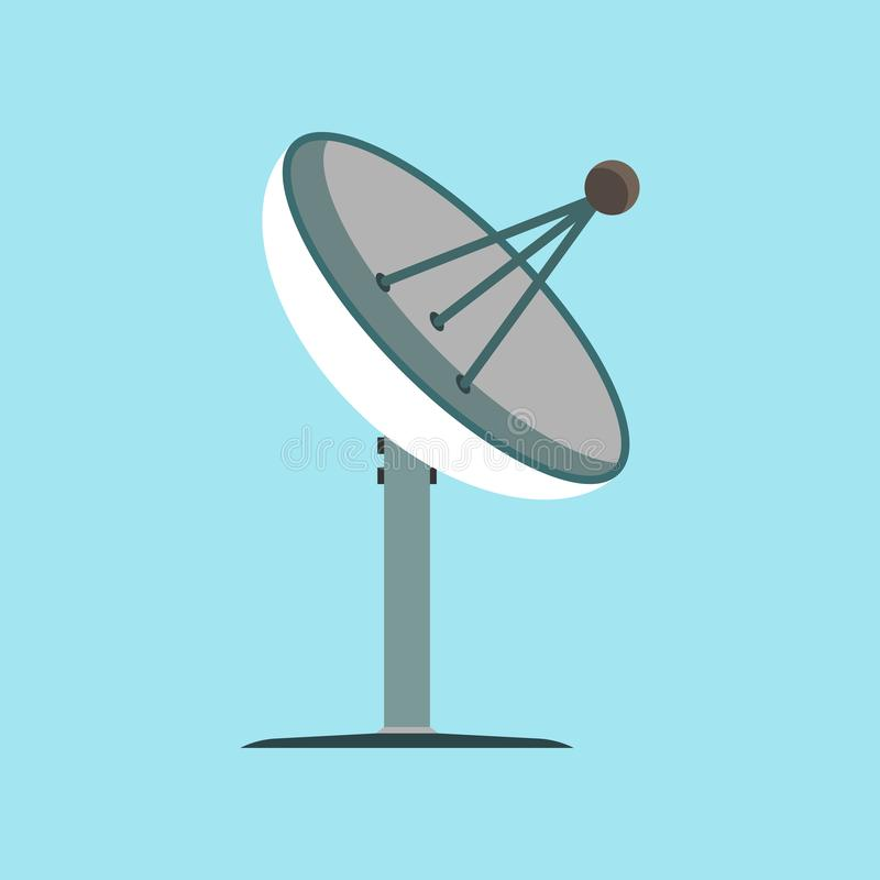 Icono del vector del ejemplo del espacio TV de la difusi?n de la antena de sat?lite Onda global de la informaci?n del negocio de  libre illustration
