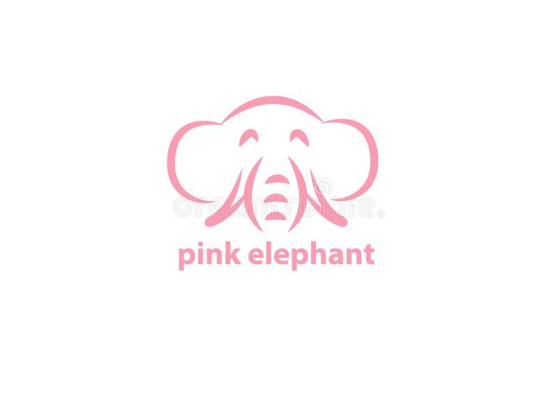Icono del vector del elefante rosado para el uso ilustración del vector