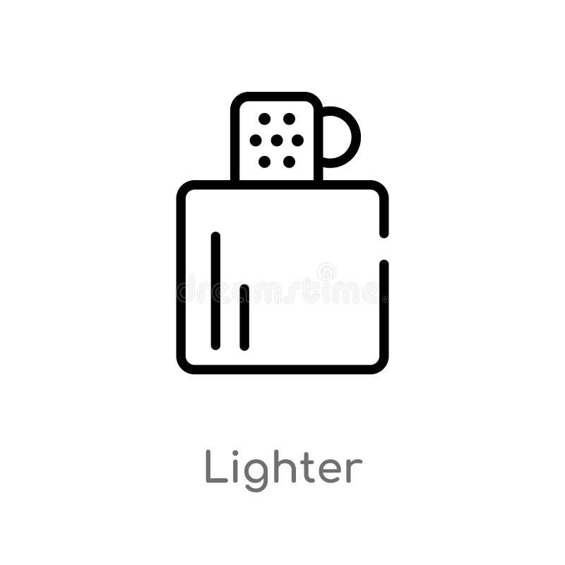 Icono del vector del encendedor del esquema línea simple negra aislada ejemplo del elemento del concepto que acampa encendedor ed libre illustration