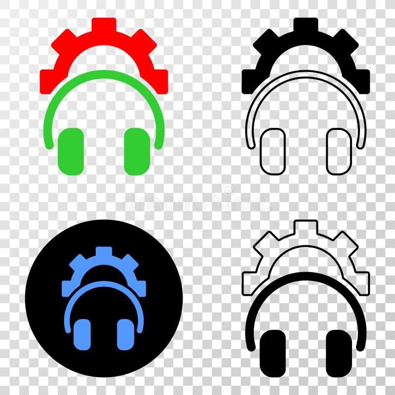 Icono del vector EPS de los auriculares del engranaje con la versión del contorno libre illustration