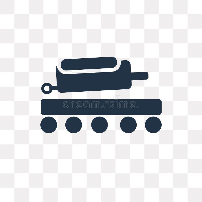 Icono del vector del equipaje de la cosecha aislado en fondo transparente, stock de ilustración