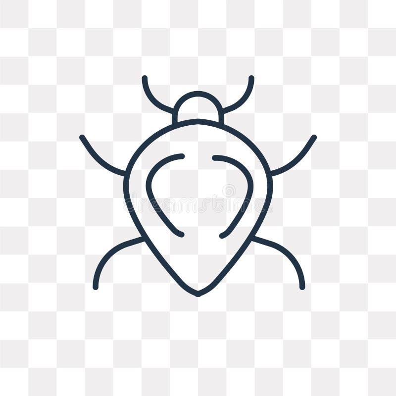 Icono del vector del escarabajo en el fondo transparente, Sc linear stock de ilustración