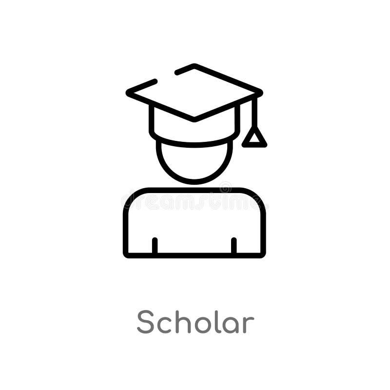 icono del vector del escolar del esquema l?nea simple negra aislada ejemplo del elemento del concepto de la educaci?n Movimiento  ilustración del vector