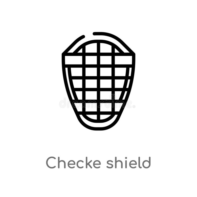 icono del vector del escudo del checke del esquema l?nea simple negra aislada ejemplo del elemento del concepto de la seguridad M ilustración del vector