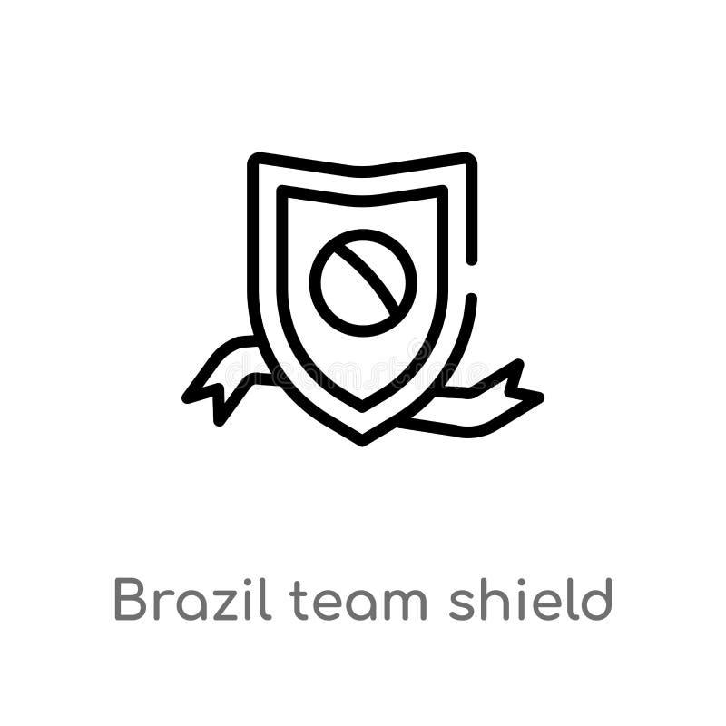 icono del vector del escudo del equipo del Brasil del esquema línea simple negra aislada ejemplo del elemento del concepto de la  ilustración del vector
