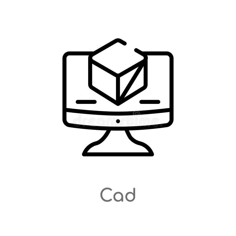 icono del vector del esquema cad l?nea simple negra aislada ejemplo del elemento del concepto de la tecnolog?a icono editable del stock de ilustración