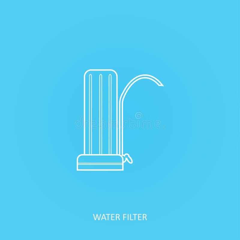Icono del vector del esquema del filtro de agua Sistema residencial de la purificación del agua Golpecito o filtración casera del libre illustration