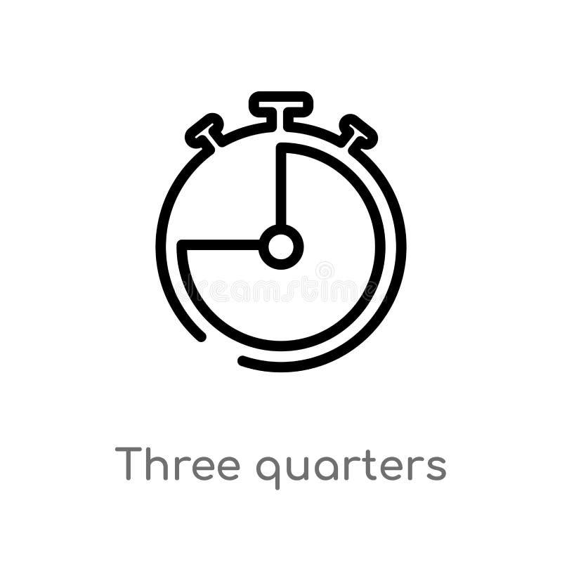 icono del vector del esquema tres cuartos línea simple negra aislada ejemplo del elemento del concepto electrónico del terraplén  stock de ilustración