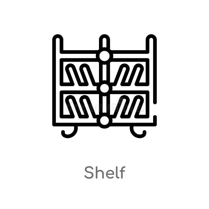 icono del vector del estante del esquema línea simple negra aislada ejemplo del elemento del concepto de los muebles y del hogar  stock de ilustración