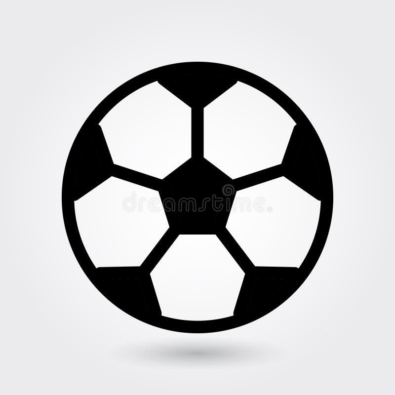 Icono del vector del fútbol, icono del balón de fútbol, símbolo de la bola de los deportes Glyph moderno, simple, ejemplo sólido  stock de ilustración