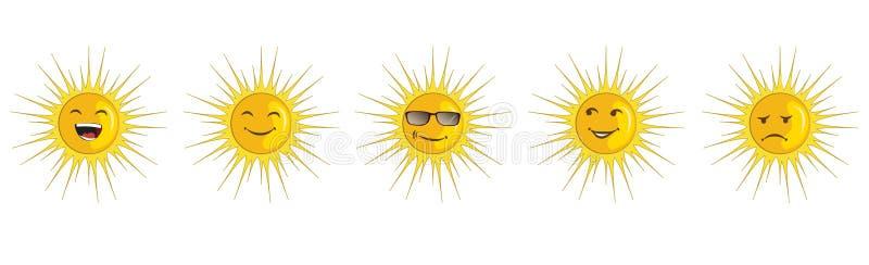 Icono del vector fijado - emociones del sol stock de ilustración