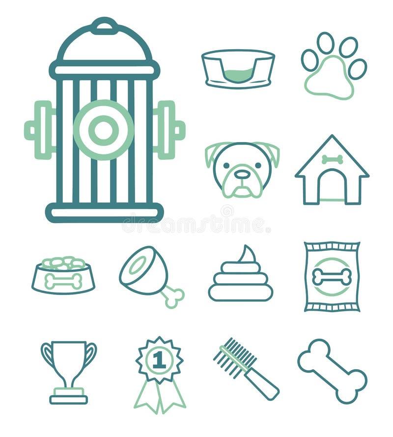Icono del vector fijado para crear el infographics relacionado con los perros, como la boca de riego, la perrera del perro, la co stock de ilustración