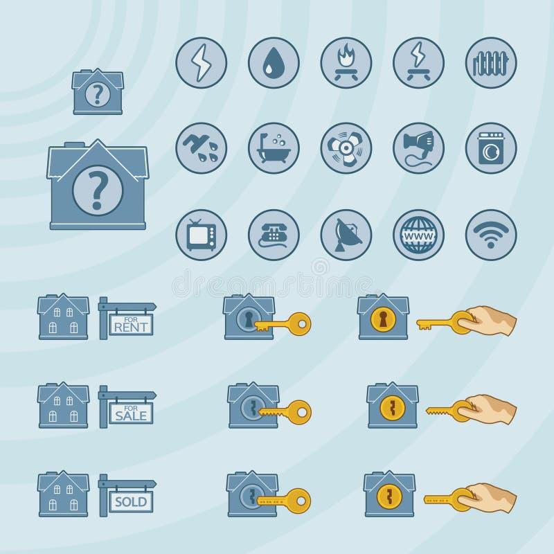 Icono del vector fijado para el negocio de las propiedades inmobiliarias libre illustration