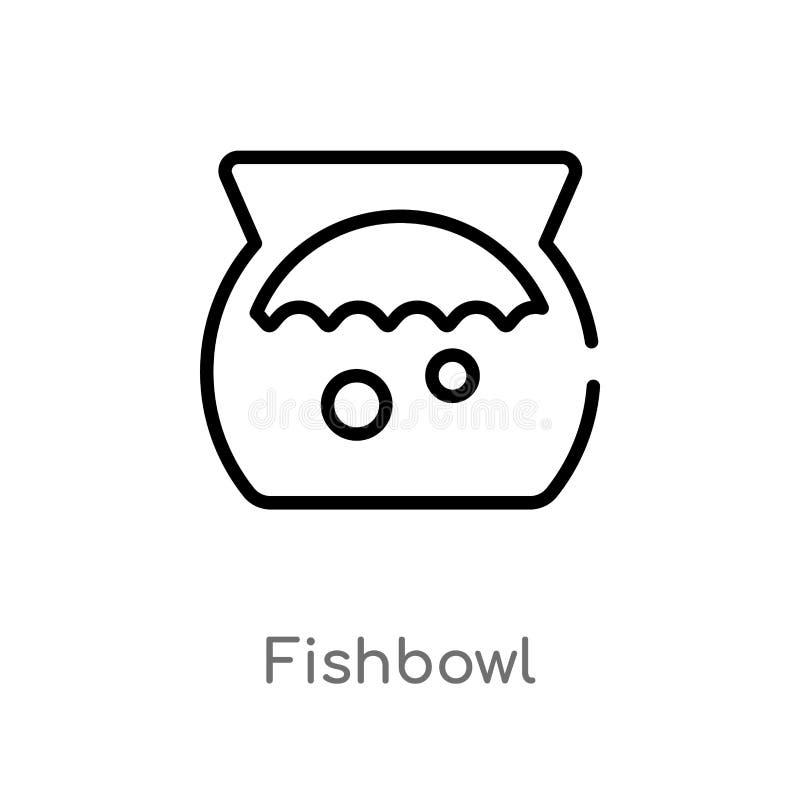 icono del vector del fishbowl del esquema l?nea simple negra aislada ejemplo del elemento del concepto de los animales Movimiento ilustración del vector
