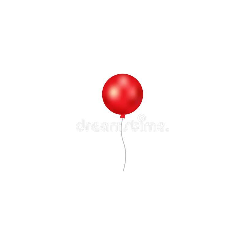 Icono del vector del globo aislado en el fondo blanco Icono rojo del globo de la pendiente Útil para la invitación del cartel, de stock de ilustración